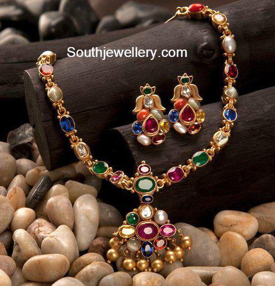 Simple Navaratna Necklace Set - Jewellery Designs