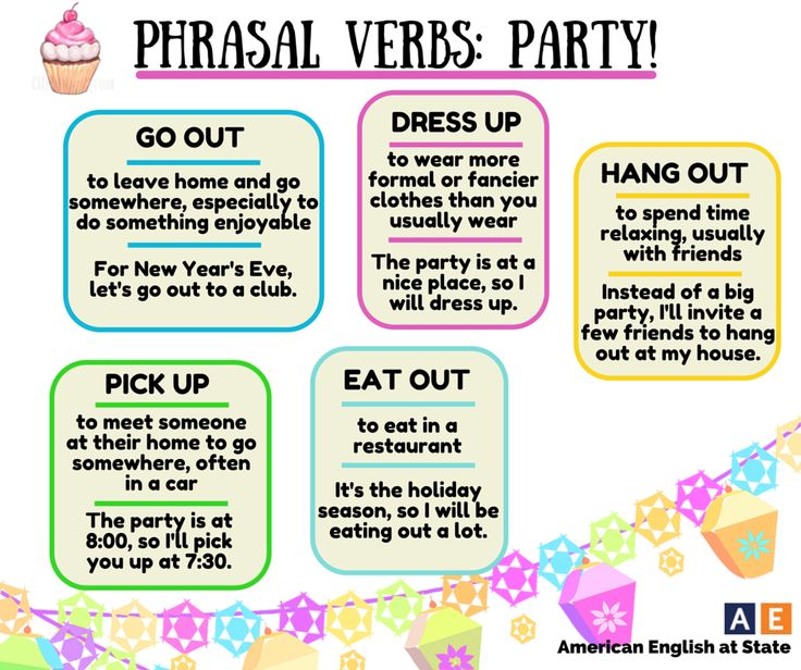 It's Phrasal Verb Thursday. Check out this week's phrasal verbs related to the theme of 'party.' Do you like to dress up and go out, or do you prefer to stay at home and hang out with friends? #AmericanEnglish: