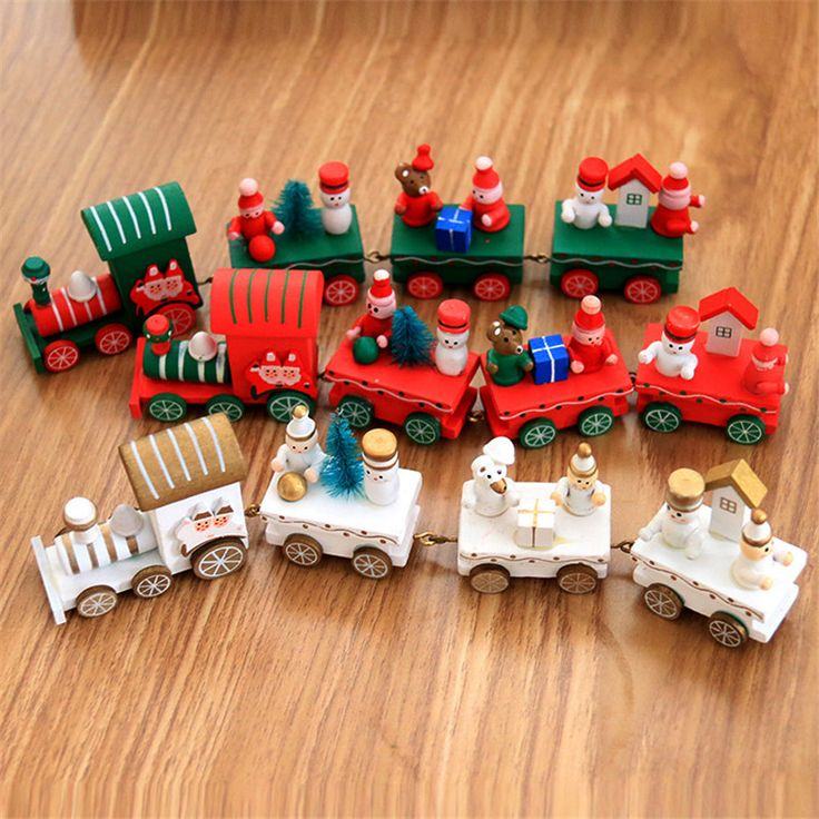 1pcs/lot Wooden small train Shopping Center Decorative props window Scenery Layout Decoration Wholesale Christmas decoration