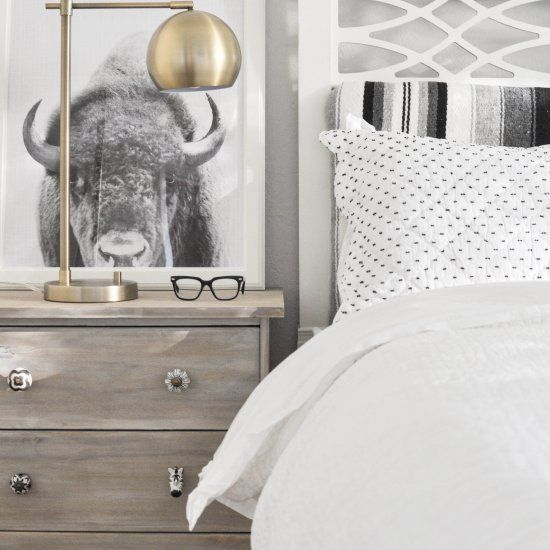 How to get that Scandinavian farmhouse look on a small budget, plus an amazing Ikea Rast nightstand hack!