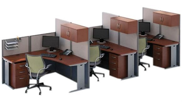 set of 3 l workstations hansen cherry by bush 1 800 460 0858 free shipping office. Black Bedroom Furniture Sets. Home Design Ideas