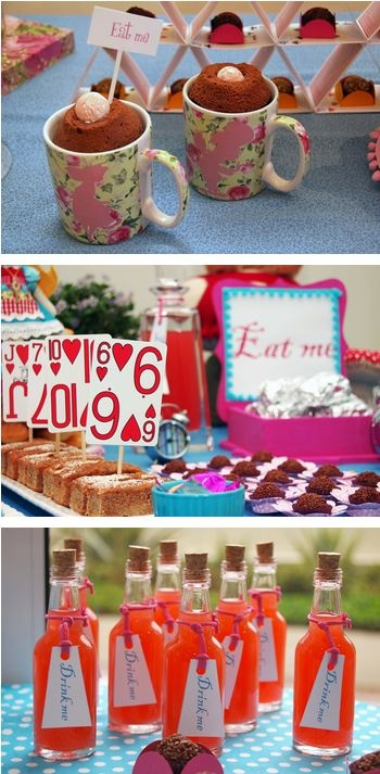 "Alice and Wonderland Party Theme - ""Eat Me"" & ""Drink Me"""