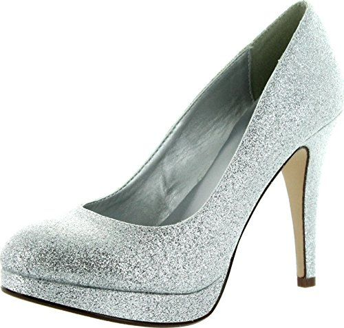Delicious Womens Eiffel Glossy Closed Toe Dress Platform Pump Professional Women Stiletto Heel,Silver Glitter,10