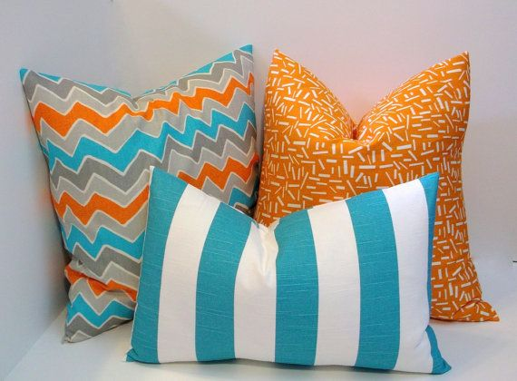 Coastal blue & orange trio of decorative pillow covers, sherbet orange, grey, blue home decor ...