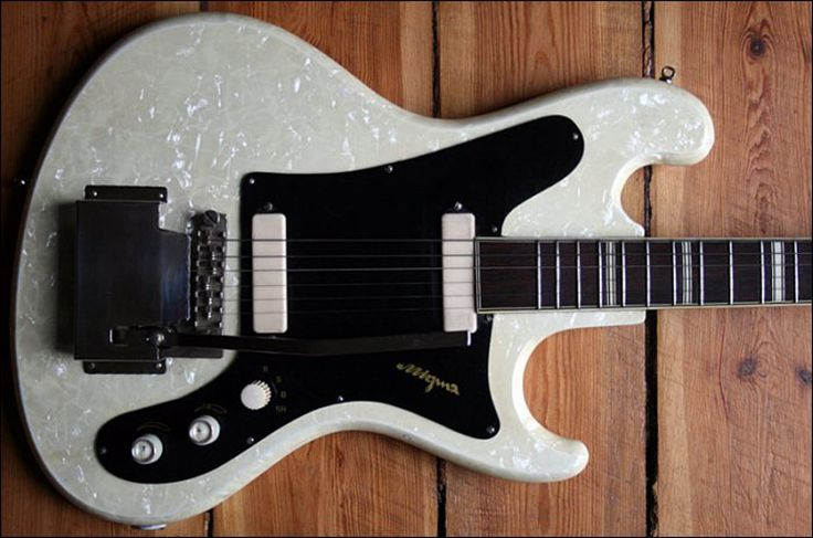 Vintage German-made pearloid-finished Migma solidbody electric guitar