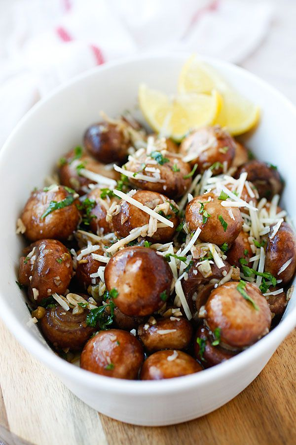 Garlic Herb Sauteed Mushrooms - best & easiest mushroom recipe that takes only 10 mins. Saute the mushrooms with olive oil, garlic, parsley, and top with Parmesan cheese | rasamalaysia.com