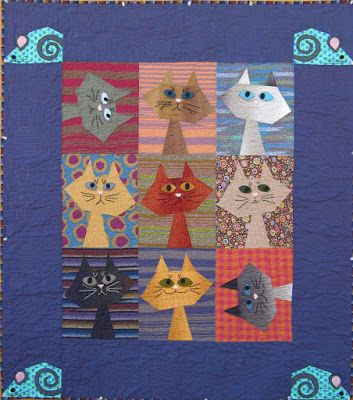 = free pattern = Feline Frenzy quilt by Kimberly Rado, featured at Quilt Inspiration