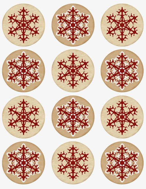 "Free printable with 2.5"" round (red & white) snowflake tags, labels..."