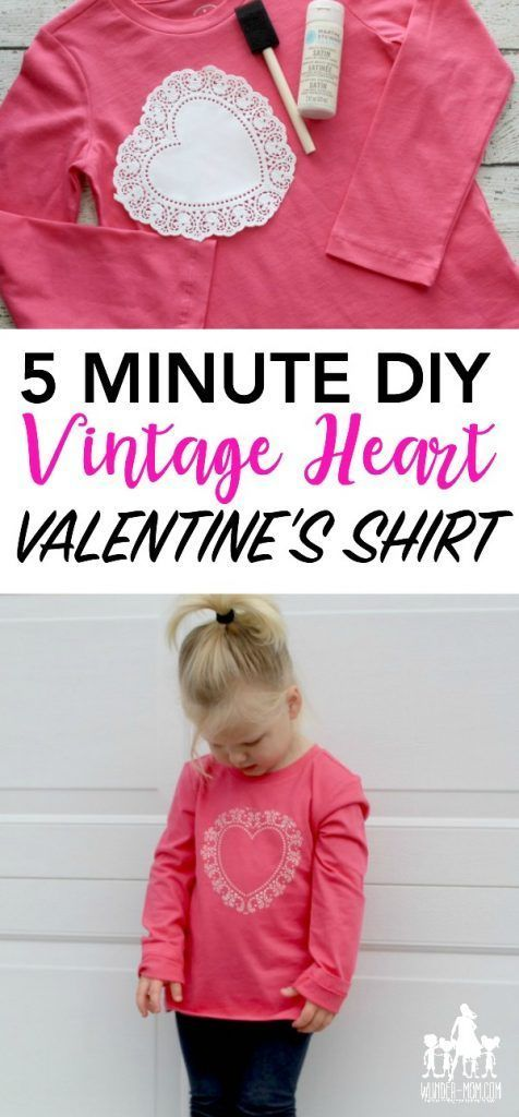 I love this 5 minute DIY!!  Make this easy valentien's day craft - a vintage heart shirt for Valentine's Day!