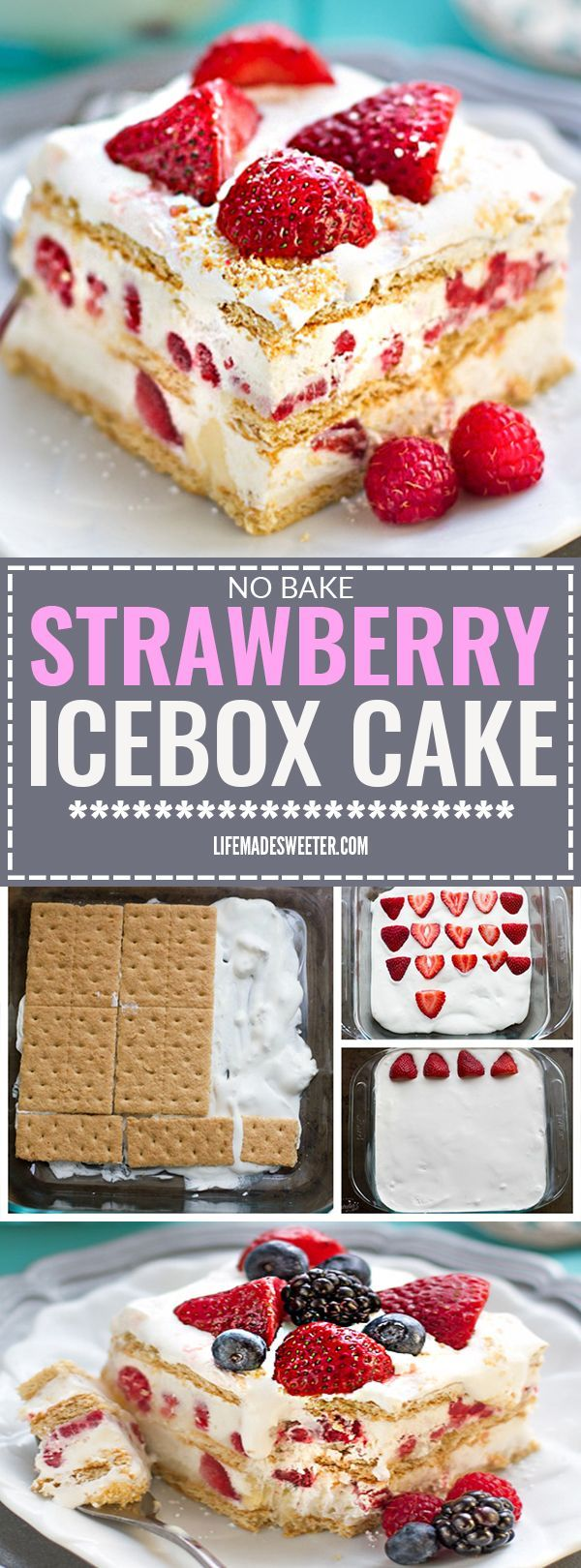 No BAKE Strawberry Cheesecake Icebox Cake is the perfect EASY dessert for spring and summer potlucks, cookouts, parties, barbecues, picnics, Mother's Day & baby showers. A favorite ice box dessert that only requires 5 ingredients and it's a great make ahead dish with fresh strawberries, whipped cream, cheesecake pudding, and graham crackers.