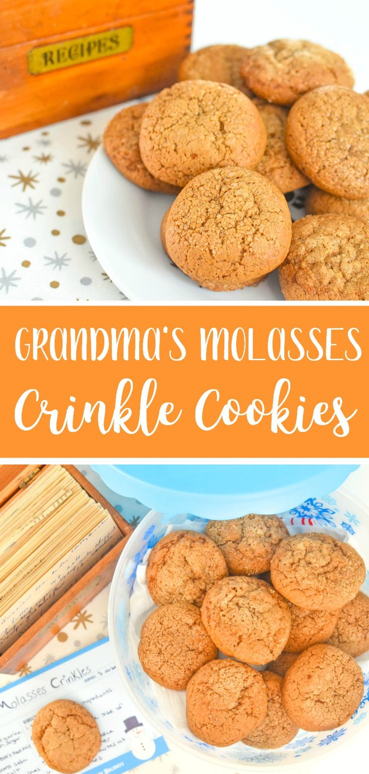 Grandma's Molasses Crinkle Cookies Recipe - Thick, chewy, with crackled, sugary tops AD