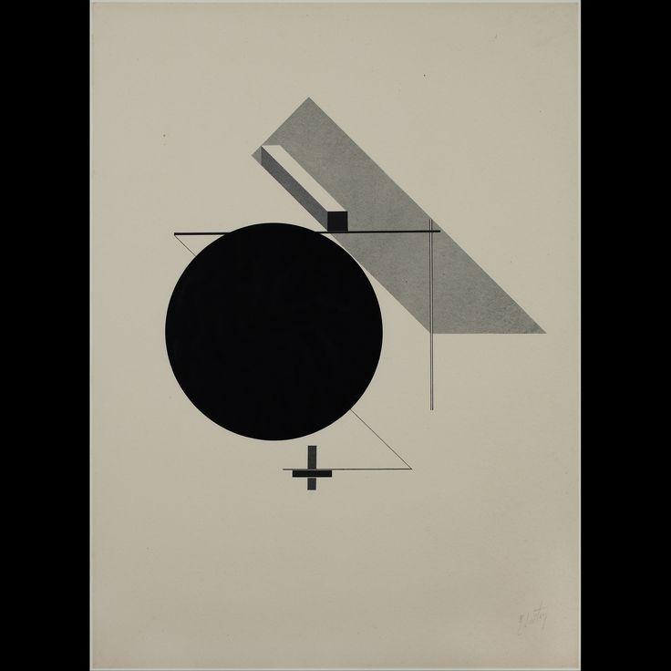 El lissitzky - Kestnermappe Proun, Rob. Levnis and Chapman GmbH Hannover #5 (1923) 큰 원을 기점으로 이목을 잡아당기는 이 작품은 굉장히 미니멀하지만 꽉찬 느낌을 준다. 배치상으로 원과 사각형 두 도형으로 이미 안정감을 구축하였고 중간에 작은 직육면체로 인해 입체감이 살아난다. 그것들은 가로지르는 선들은 이 작품을 입체로 구성하였을때 다양성을 제공해줄 것 같다.
