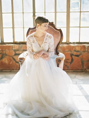 Gorgeous pixie cut bride in Cherie Gown Flora and Lane