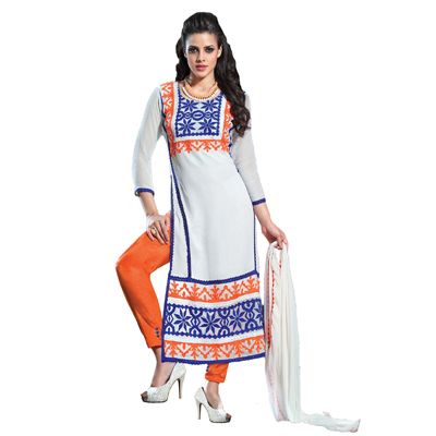 Buy Fabfiza White Gerogette Semi Stitched Embroidered Dress Material by fabfiza, on Paytm, Price: Rs.1299?utm_medium=pintrest