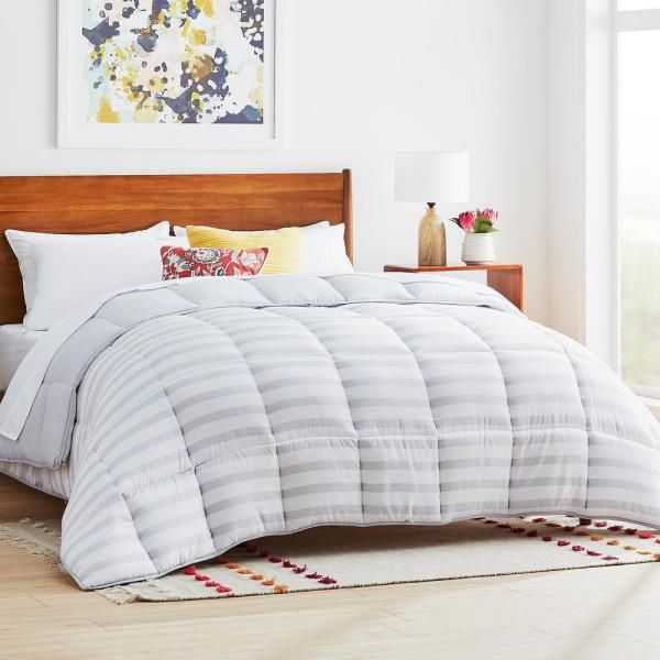 Linenspa Grey White Stripe Solid Oversized Queen Comforter Hd70oqgrgwmico The Home Depot White Down Comforter Comforters Oversized King Comforter Oversized king down alternative comforter