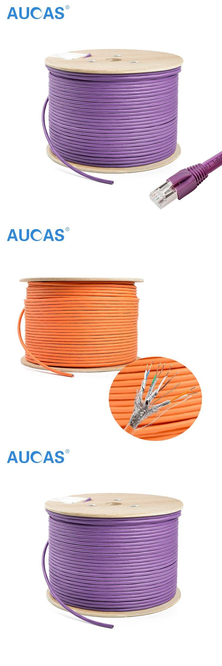 AUCAS 10m 20m 30m 4 pairs twisted Cat7 RJ45 Cable FTP Solid Lan Ethernet Cables Network cable Cat7 Free Shipping