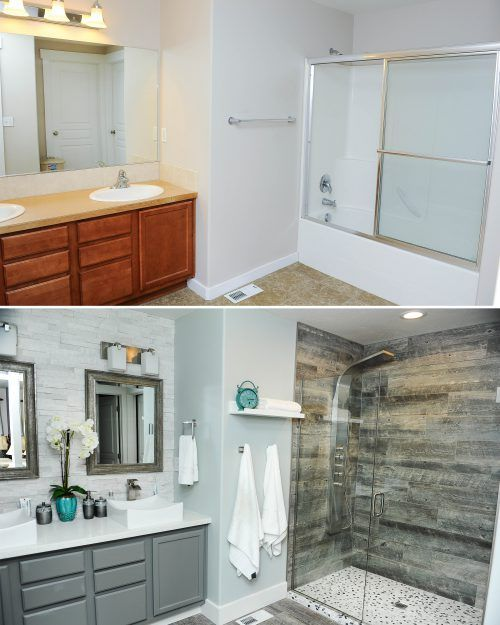 10 Bathroom Remodel Ideas Before and After #3 - New Painting Ideas with Grey #ModernBathroom #MinimalistBathroom #ModernInterior #MinimalistInterior