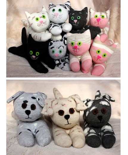 Cats and pups softie toys from socks. Tutorial. Cute.