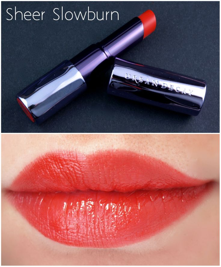 "Urban Decay Sheer Revolution Lipstick in ""Slowburn"" & ""Ladyflower"": Review and Swatches"