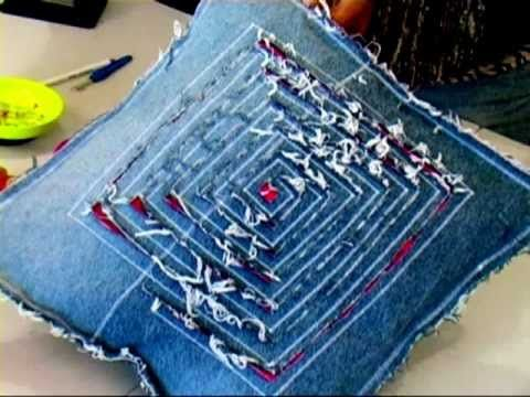 DIY home furnishings 3/4 (Recycled Denims) - YouTube