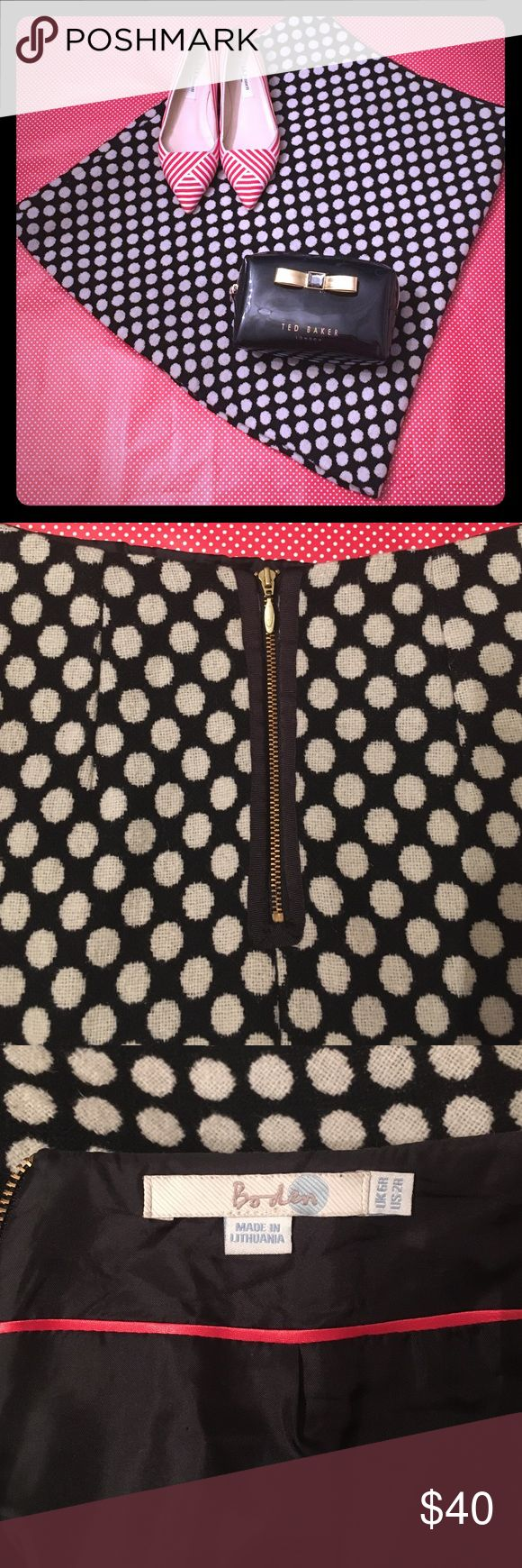 """❤️BODEN Wool-Blend Polka-Dot Skirt❤️ ❣️Think winter skirts can't be girly and flirty and fun? Think again! ❣️This A-line confection has dots woven into the substantial fabric and has a chic exposed gold zipper in back! Contrast pink piping on full inner lining means it's fun from the inside out! Functional slash pockets for girls on the go. Just under 20.5"""" long; waist 13"""" flat; hips (across bottom of zipper) about 17"""" flat. Boden Skirts A-Line or Full"""