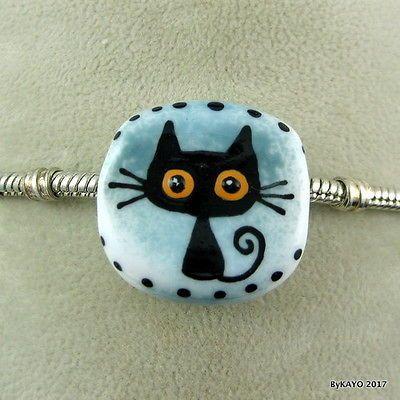 VELCRO KITTY byKAYO handmade lampwork glass BLACK CAT charm BRACELET bead SRA