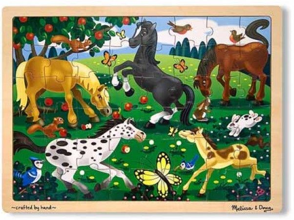 Assembling this charming puzzle from Melissa & Doug would be enough fun; but count the horses, apples, butterflies, and this adds another dimension to the puzzle #Melissa&Doug #horses #puzzle
