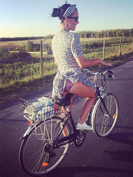 """Katy Perry posted on Instagram: """"I know it's a little cheeky, butt... Cycling in The ile de re, France  """""""