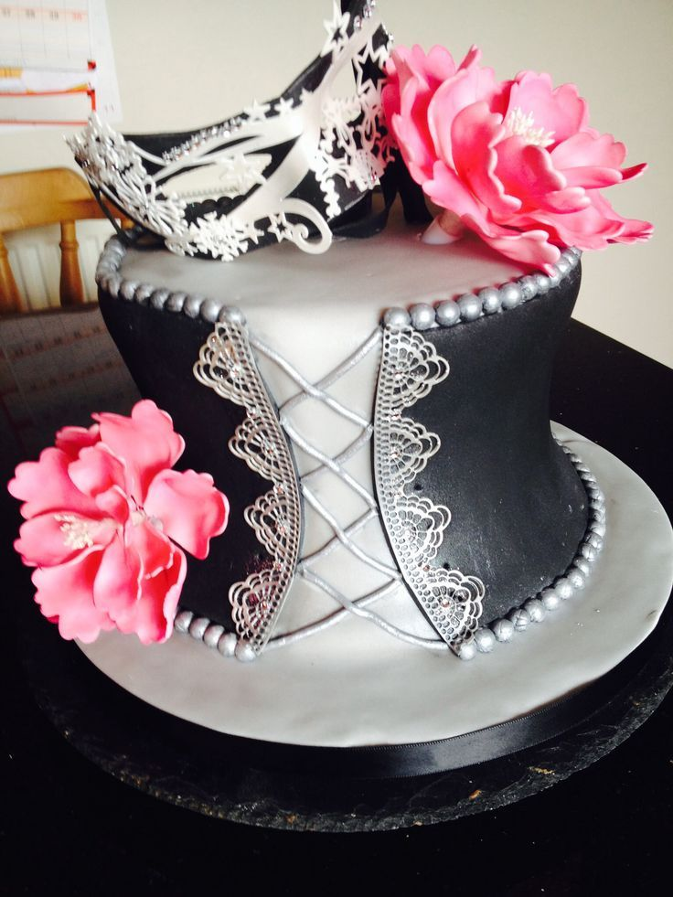 Corset & mask cake made for a masquerade ball. Could be adapted as wedding shower cake