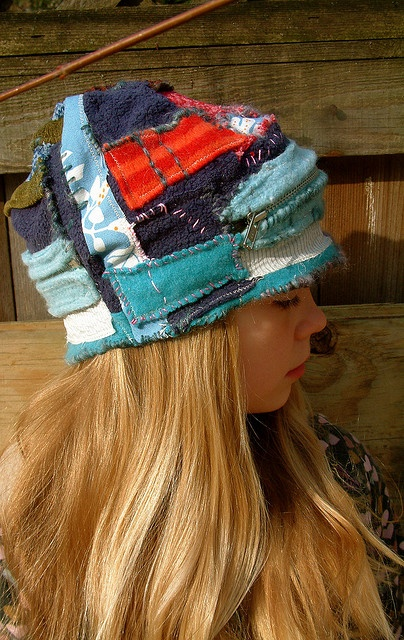 hat with a zipper pouch for special stuff by eanie meany, via Flickr