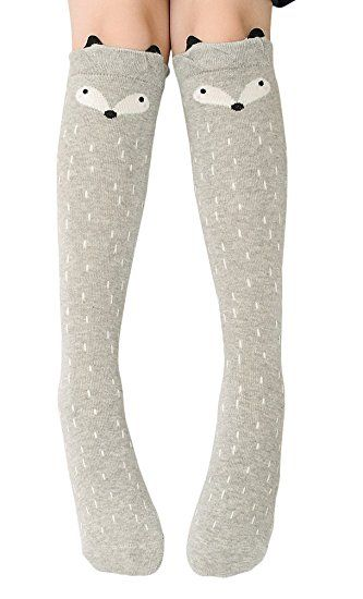 34c9d3f5dbb BogiWell Girls Cute Animal Socks Cotton Over Calf Knee High Socks Gray Fox
