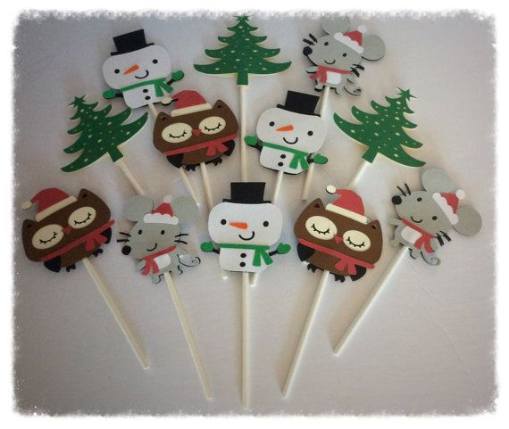 12 Christmas  Inspired cupcake toppers Winter by 2inspiredcrafters