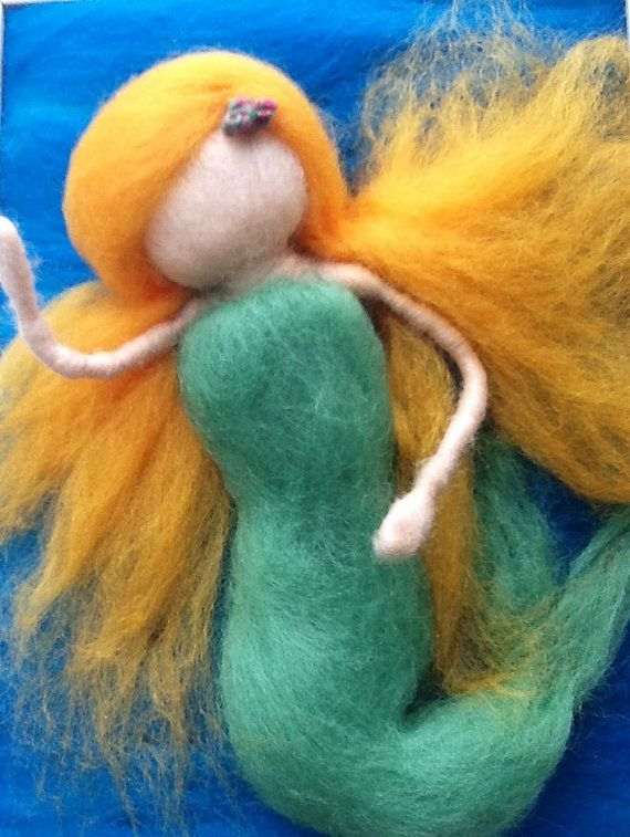 Made to Order Mermaid Needle Felted Painting by WoolyRooDolls, $45.00