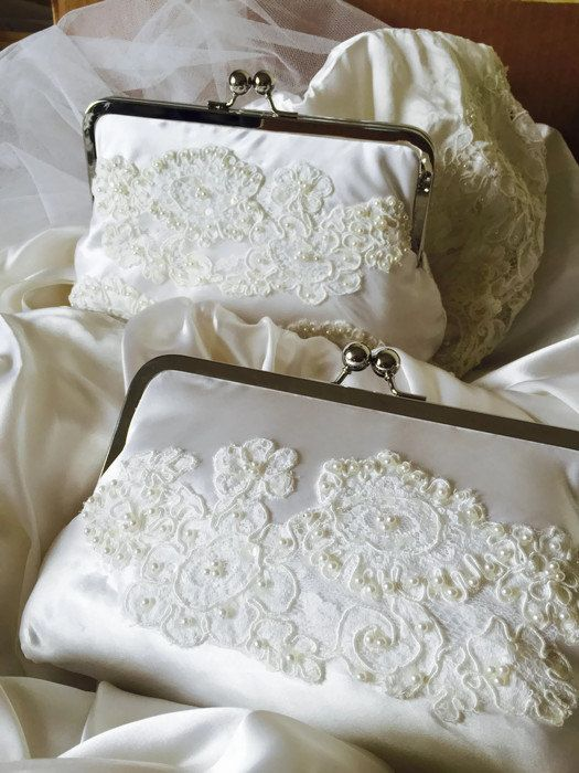 CUSTOM, HEIRLOOM, REPURPOSE old wedding dress into a bridal clutch - reuse an old dress - mom or grandmas wedding dress perhaps.  Why not turn something old into something new - what a wonderful way to re-use that old wedding dress - turning into a beautiful family heirloom. Dont forget to make one for other future brides-to-be in the family.  When a brides mother contacted me to make a clutch for her daughter using her beautiful vintage dress I realized that there surely are other brides…