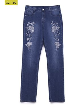 floral embroidery wonderfit jeans