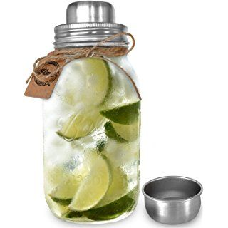 "Premium Large 32 Ounce Mason Jar Cocktail Shaker | Iconic Made in USA ""Ball"" 32 oz Glass Quart Mason Jar 