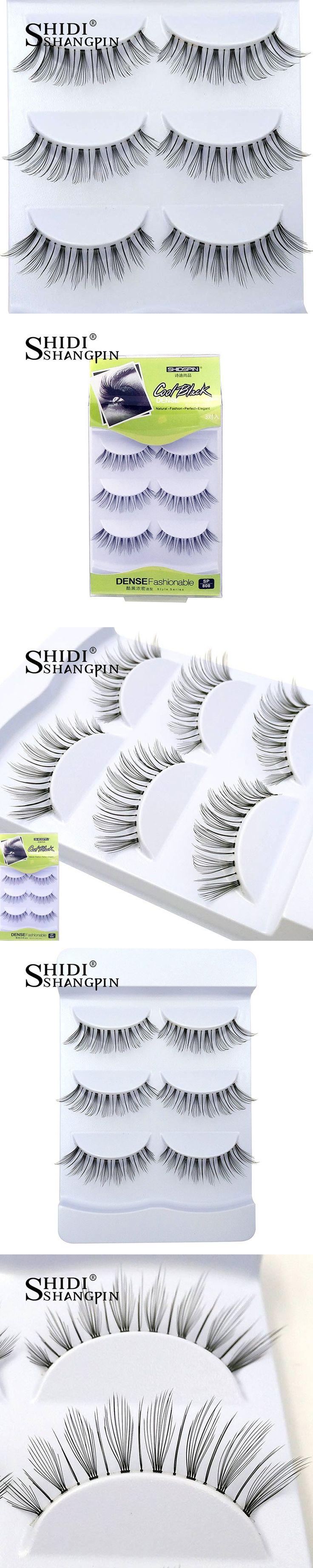 Leaf Type Handmade False Eyelashes Emulate Hair Makeup Tool Transparent Fake Lashes Soft Thin Faux Extension Kit 3 Pairs