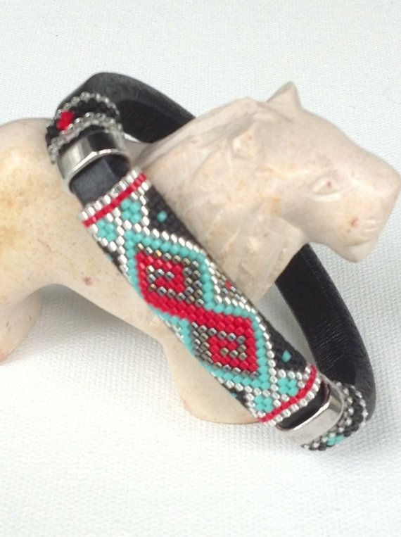Licorice Leather Peyote Bracelet by Calisi on Etsy