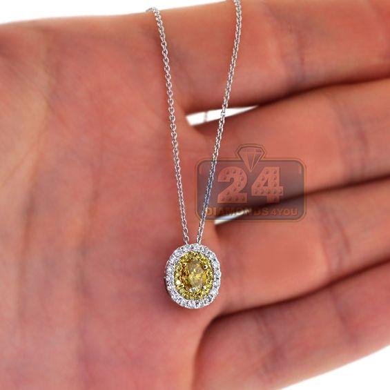 920ac9210e3 Womens 1.02 Carat Yellow Canary Round Cut Diamond Halo Drop Style Pendant  14K White Gold