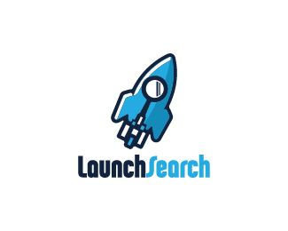 Launch Search Logo design - Logo design of a flying rocket with a spy glass incorporated inside it as the window.  Price $260.00