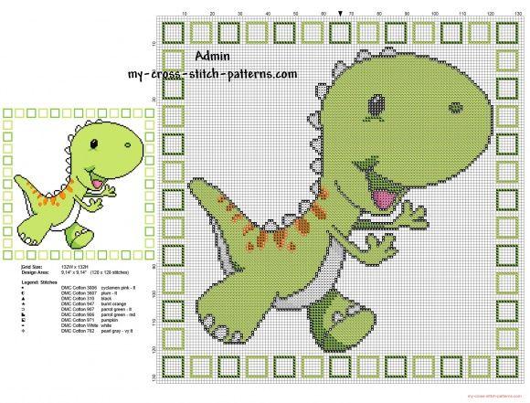 Children Pillow With Green Cartoon Dinosaur Cross Stitch