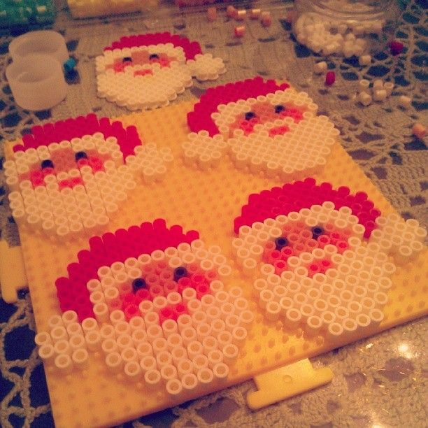 Christmas Santa ornaments perler beads by arts_and_graff
