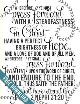 "2016 Youth Mutual Theme ""Press Forward with a Steadfastness in Christ"" Poster"