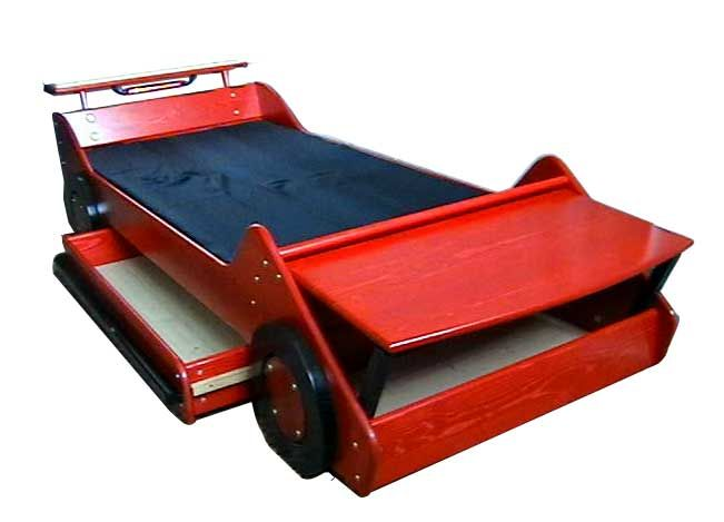 race car bed with toy box for the