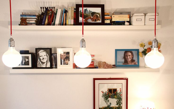 A cozy fresh apartment in central Milan by Nomade Architettura http://www.nomadearchitettura.com/#all  hanging light bulbs