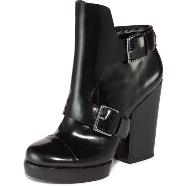 DKNY Rayna Platform Ankle Boot ($395) ❤ liked on Polyvore featuring shoes, boots, ankle booties, black, black boots, black leather booties, black platform boots, black ankle boots and black leather boots