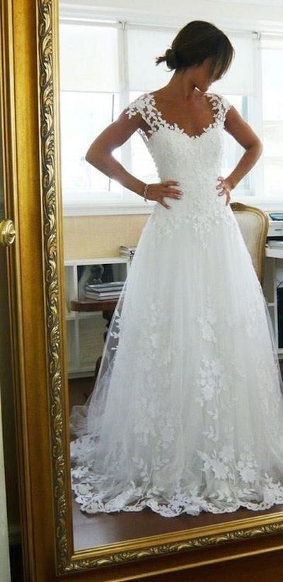 A-line Cap Sleeves Appliqued Long Wedding Dress ,Handmade Bridal Dress Make to Order