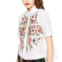 Женщины сладкий цветочный вышивка рубашки хлопок белый винтаж тотем ретро с коротким рукавом повседневная блузка дамы лето топы blusas DT841