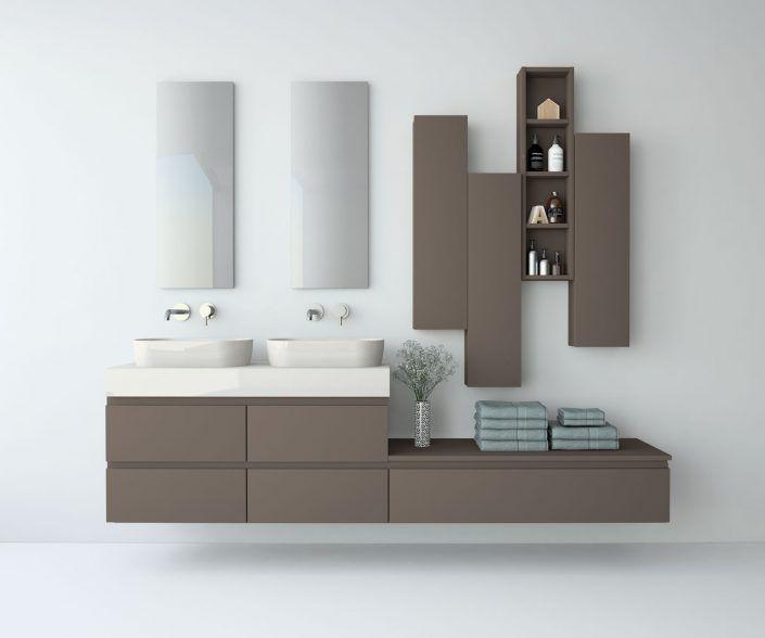 Muebles de baño a medida. Ejemplo de acabados en madera natural, laminados, lacas brillo o mate, etc. unibaño-compactos-acabados-5