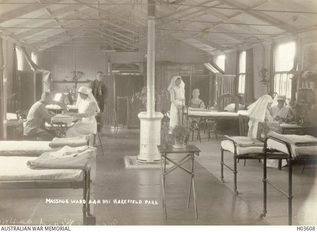 Harefield, England. c. 1918. Nurses and patients in the Massage Ward at No 1 Australian Auxiliary Hospital.
